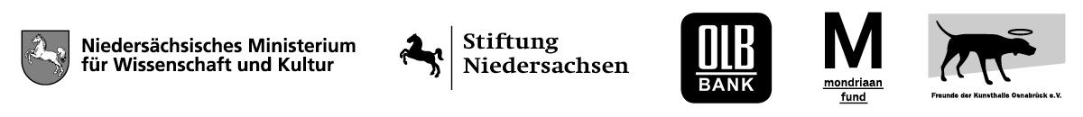 Logoblock Niedersächsiches Ministerium für Wissenschaft und Kultur, Stiftung Niedersachsen, Oldenburgische Landesbank, Mondriaan Fund, Freunde der Kunsthalle Osnabrück.